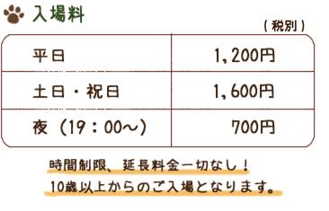入場料 平日1,200円 土日・祝日1,600円 夜(19:00~)700円 (税別) 時間制限、延長料金一切なし!12歳以上からのご入場となります。
