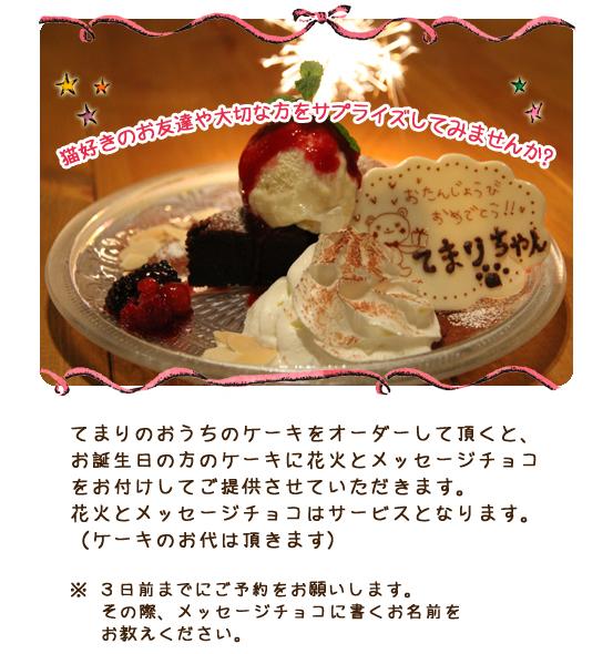 猫好きのお友達や大切な方をサプライズしてみませんか?てまりのおうちのケーキをオーダーして頂くと、お誕生日の方のケーキに花火とメッセージチョコをお付けしてご提供させていただきます。花火とメッセージチョコはサービスとなります。(ケーキのお代は頂きます) ※3日前までにご予約をお願いします。その際、メッセージチョコに書くお名前をお教えください。